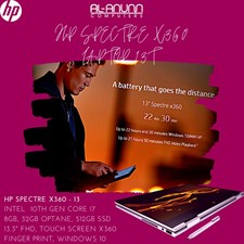 "HP Spectre X360 13-aw0013dx Ci7 10th 8GB 512SSD 32gb 13.3"" FHD TOUCH FP BL W10 With HP Active Stylus"