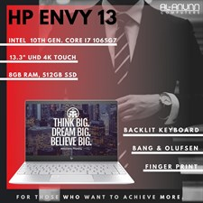 HP ENVY 13 AQ-1013DX, Ci7 10TH, 8GB, 512GB, 13.3UHD 4K TOUCH, BACKLIT KBD, B&O, FPR, W10, SILVER